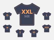 Size Clothing T-shirt Stickers Set. Vector illustration Royalty Free Stock Photography