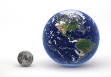 Size comparison between Earth and Moon. This image represents the size comparison between Earth and Moon in a precise and scientific design.This is a 3d Stock Photos