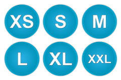 Size icon. Blue size web buttons isolated on white background Stock Photos
