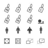 Size icons111. Size icons, mono vector symbols Royalty Free Stock Images