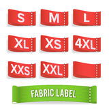 Size Label Fabric Vector. Realistic Set Bright Blank Fabric Labels Or Badges With Stitching. Royalty Free Stock Photography