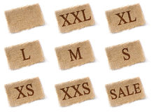 Size labels fabric set Royalty Free Stock Photography