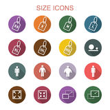 Size long shadow icons Royalty Free Stock Photo