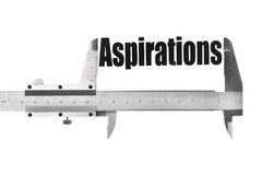 The size of our aspirations. Close up shot of a caliper measuring the word Aspirations royalty free stock photography