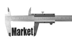 The size of our market. Close up shot of a caliper measuring the word Market Royalty Free Stock Photo