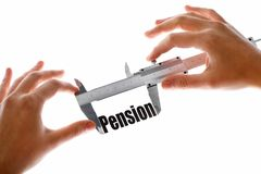 The size of our pension. Close up shot of a caliper measuring the word Pension Royalty Free Stock Photo