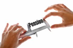 The size of our pension. Close up shot of a caliper measuring the word Pension Stock Photo