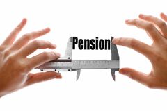 The size of our pension. Close up shot of a caliper measuring the word Pension Stock Images