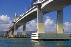 Size & Proportion. A boat stands by near a public bridge in Lapu-lapu City, Cebu, Philippines stock image