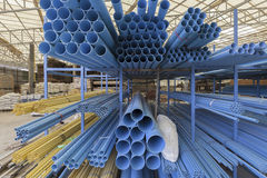 Size of pvc pipes in Materials Warehouse. Royalty Free Stock Photos