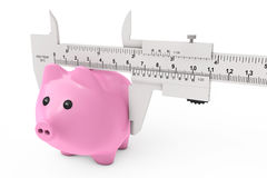 Size of Savings Concept. Piggy Bank with Vernier Caliper Sliding Stock Image