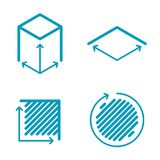 Dimension and measuring icon set. Size, square, area concept sym. Size, square, area concept line icons. Volume, capacity, acreage outlined symbols and Stock Photo