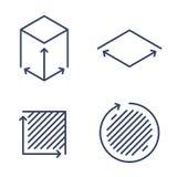 Size, square, area concept symbols. Dimension and measuring icon. Size, square, area concept linear icons. Volume, capacity, acreage line symbols and pictograms stock illustration