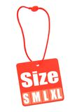 Size Tag isolated on white Stock Photography