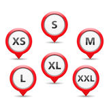 Size Tags. Red size tags on white background Royalty Free Stock Images