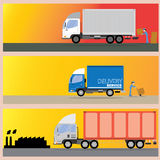 3 size of truck and transport. 3 sizes of trucks are sent to. goals In the proper format Royalty Free Stock Images