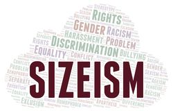 Sizeism - type of discrimination - word cloud. Wordcloud made with text only royalty free illustration