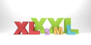 Sizes. 3d render illustration of various colorful size symbols Royalty Free Stock Photos