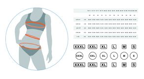 The sizes of female linen. Lingerie sizes. Vector illustration of the dimensions of a female body. The sizes of a female waist, hips, a breast. Can be used for stock illustration