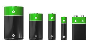 Sizes Of Batteries: D, C, AA, AAA And PP3 (9V) Royalty Free Stock Images