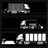 3 sizes of trucks. Are sent to. goals In the proper format in vector style Royalty Free Stock Photos