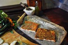 Sizilianische Bäckerei Traditionelle sfincione Tomatenpizza Stockfoto