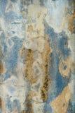 Sizilianischer Wand-Hintergrund: Raue Blau-Weiß-gelbe Stuck-Beschaffenheit Stockfotos