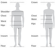 Sizing on male and female body. Parts royalty free illustration