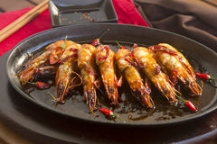 Sizzling Asian Prawns Stock Image