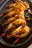 Sizzling Asian Prawns Stock Photos