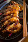 Sizzling Asian Prawns Stock Photo