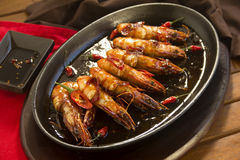 Sizzling Asian Prawns Royalty Free Stock Photos