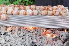 Sizzling av grillfeststicks med meat och grönsaker Fotografering för Bildbyråer