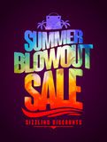 Sizzling discounts, summer blowout sale text design Royalty Free Stock Image