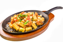Sizzling fried tofu and pork Royalty Free Stock Photo