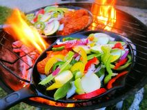 Sizzling healthy fajita beef and veggies Royalty Free Stock Photography