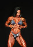Sizzling Hot Woman Bodybuilder. Sizzling, sexy, Idaliz Alvarez displays a curvaceous and muscular body as she competes in the Women's Physique competition stock photos