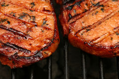 Sizzling meat. Meat with grillmarks sizzling on the BBQ royalty free stock images