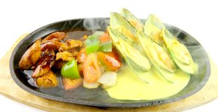 Sizzling Mussels with Saffron Sauce and Chicken Oyster Sauce. On White Back Ground Stock Photo