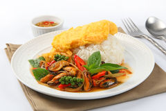 Sizzling spicy fried with mussel and fried omelet topped on rice Stock Photos