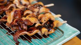 Grilled Squid With Teriyaki Sauce stock image