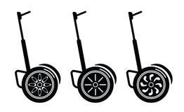 Själv-balansera elektriska sparkcyklar på vit Royaltyfri Fotografi