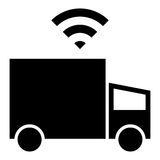 Själv-körning av lastbilsymbolen Arkivfoton