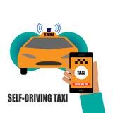 Själv-körning av taxiillustrationen Royaltyfri Foto