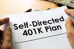 Själv riktat plan 401k Arkivfoton