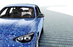 Själv som kör bilen för elektronisk dator på vägen Arkivbilder