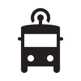 Själv som kör bussen - skårasymbol - svart Arkivbild