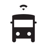 Själv som kör bussen - skårasymbol - svart Royaltyfria Foton