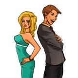 Självsäker kvinna och man Royaltyfri Fotografi