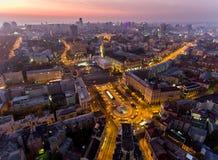 Självständighet kvadrerar ukraine Flyg- sikt av självständighetmonumentet Revolution av stolthet orange rotation Stad royaltyfria bilder